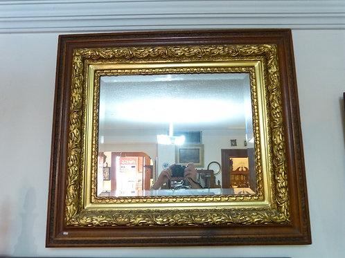 Espejo Antiguo de Encino y Hoja de Oro