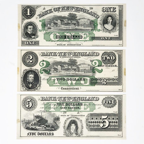 Billetes de 1, 2, y 5 Dólares Bank of New England At Goodspeed´s Landing 1800s