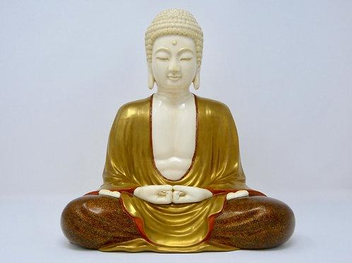 Escultura de Buda Amida de Kamakura Madera Laqueada y Marfil Ca. 1950