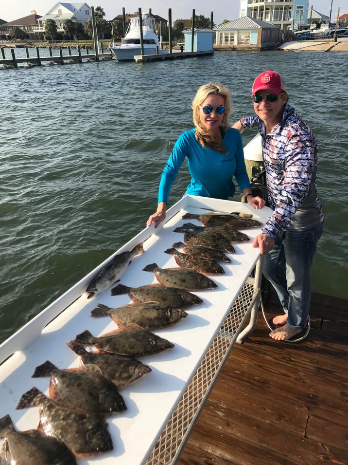 Beau and Kim galveston flounder
