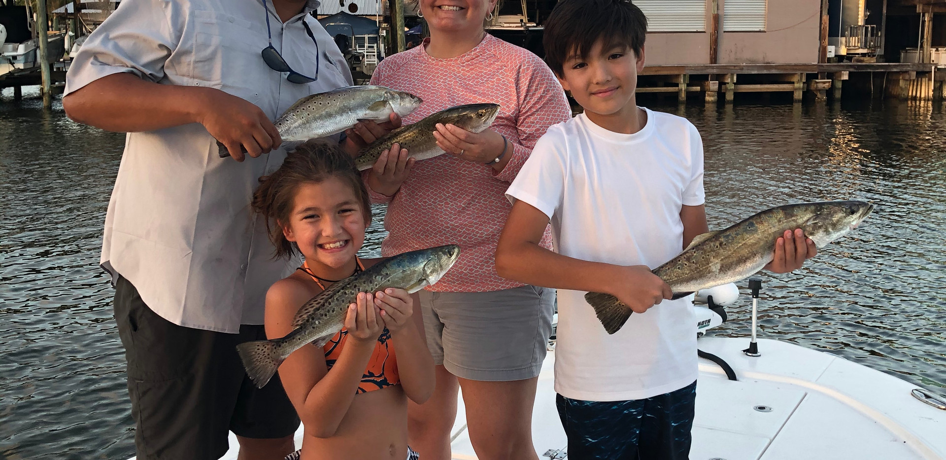 Great family catching specks in Galveston.
