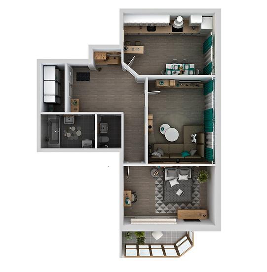 2 ком. квартира 70,7 м²