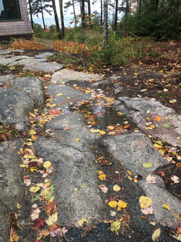 Pathway integrates with exposed ledge