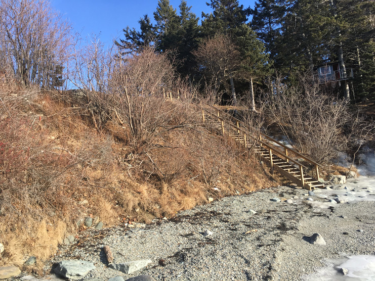 The steep bank is approximately 22' high.