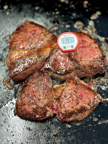 Sirloins on the griddle