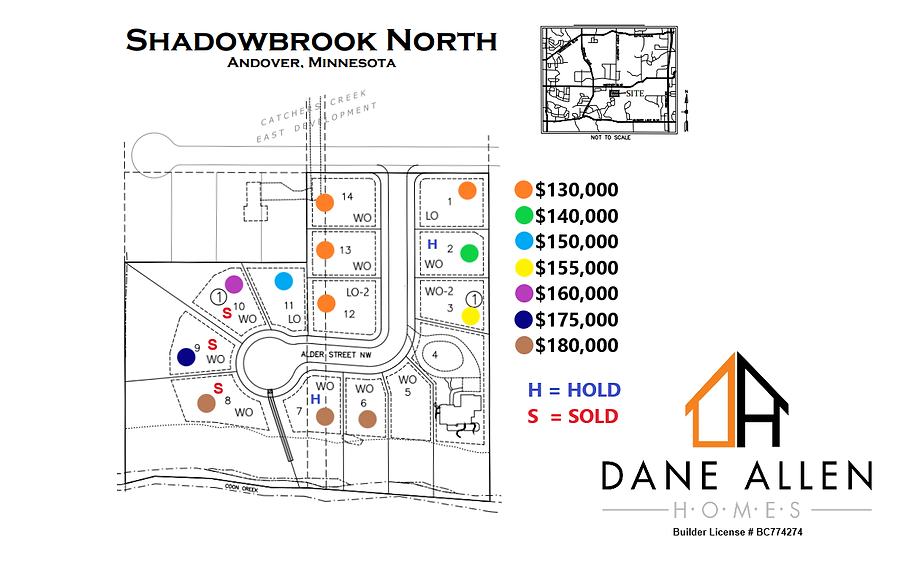 Shadowbrook North Lot Map as of 4.29.21.