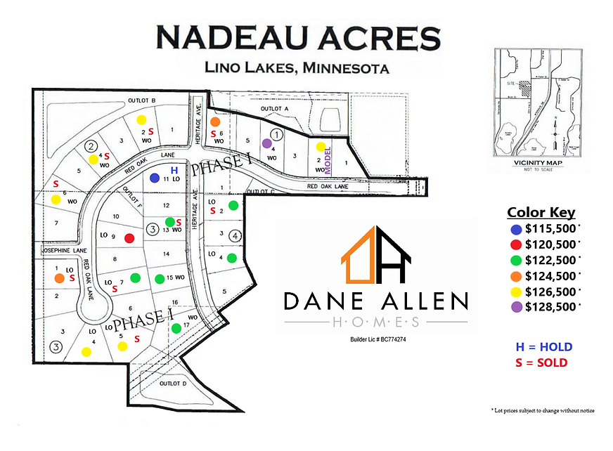 Nadeau Acres Phase I map HOLDS & Pricing