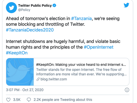 Tanzania using Twitter's copyright policy to silence activists and stifle democracy
