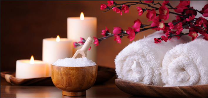 Candles,Towels, and Salts for Spa Treament