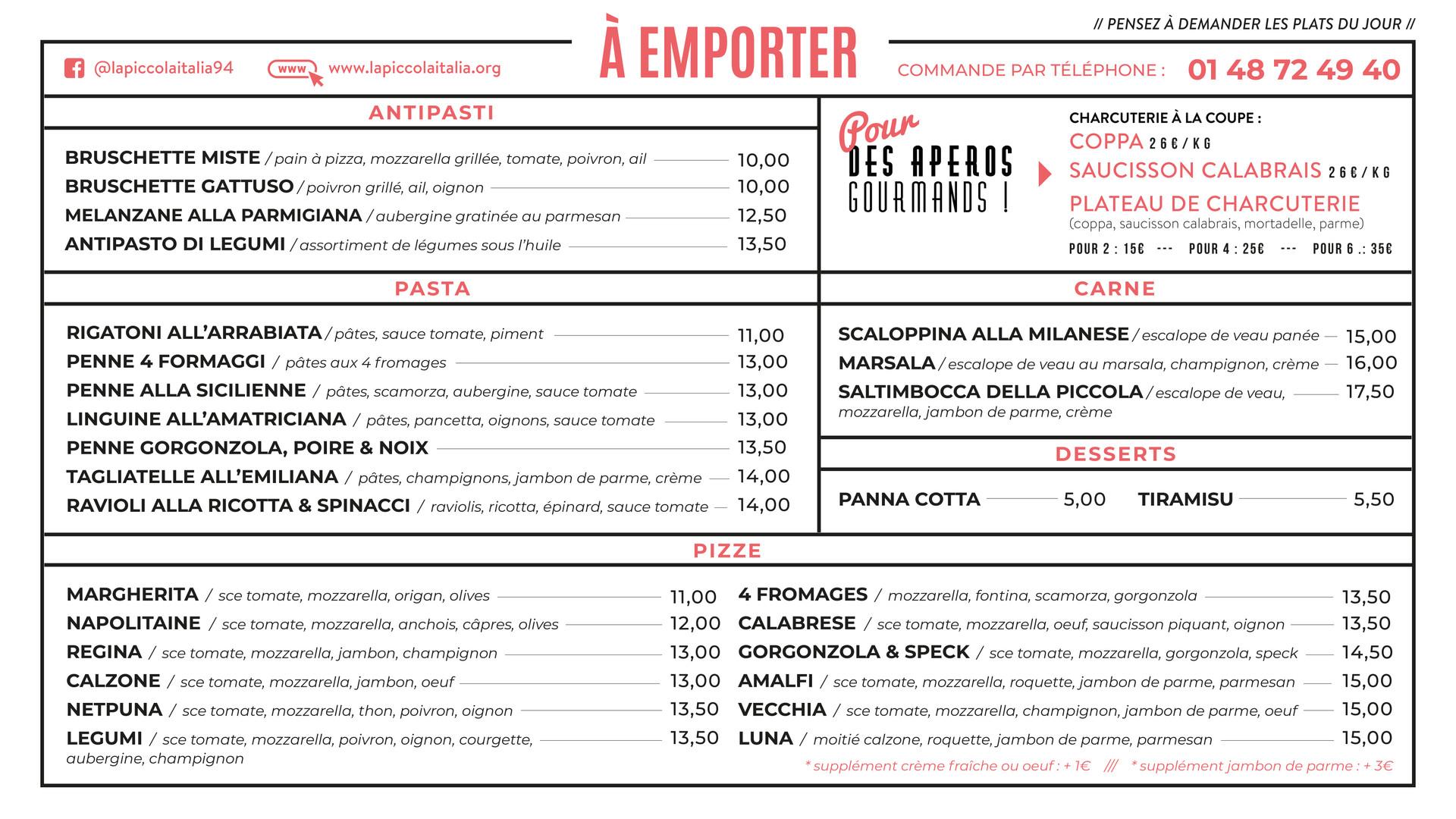 carte menu emporter