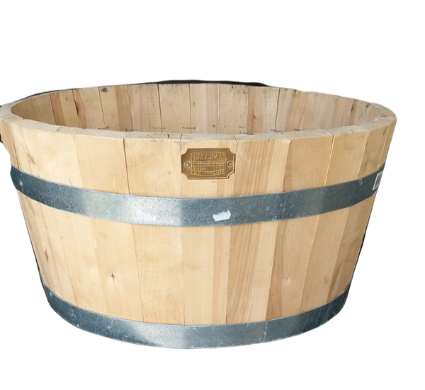 wooden barrel planter