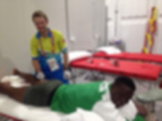 Sports injury treatment by Musculoskeletal physiotherapist Jason Wheeler at the Gold Coast Commonwealth Games 2018