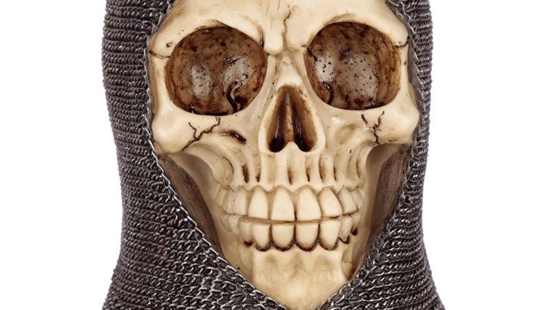 Gothic chain mail skull ornament.