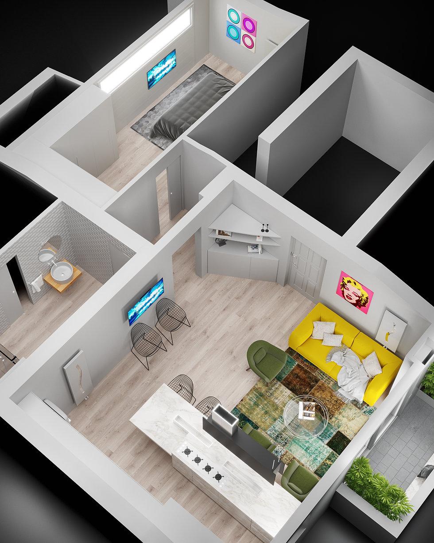 Abitazione 3D con planimetria realizzata per privato