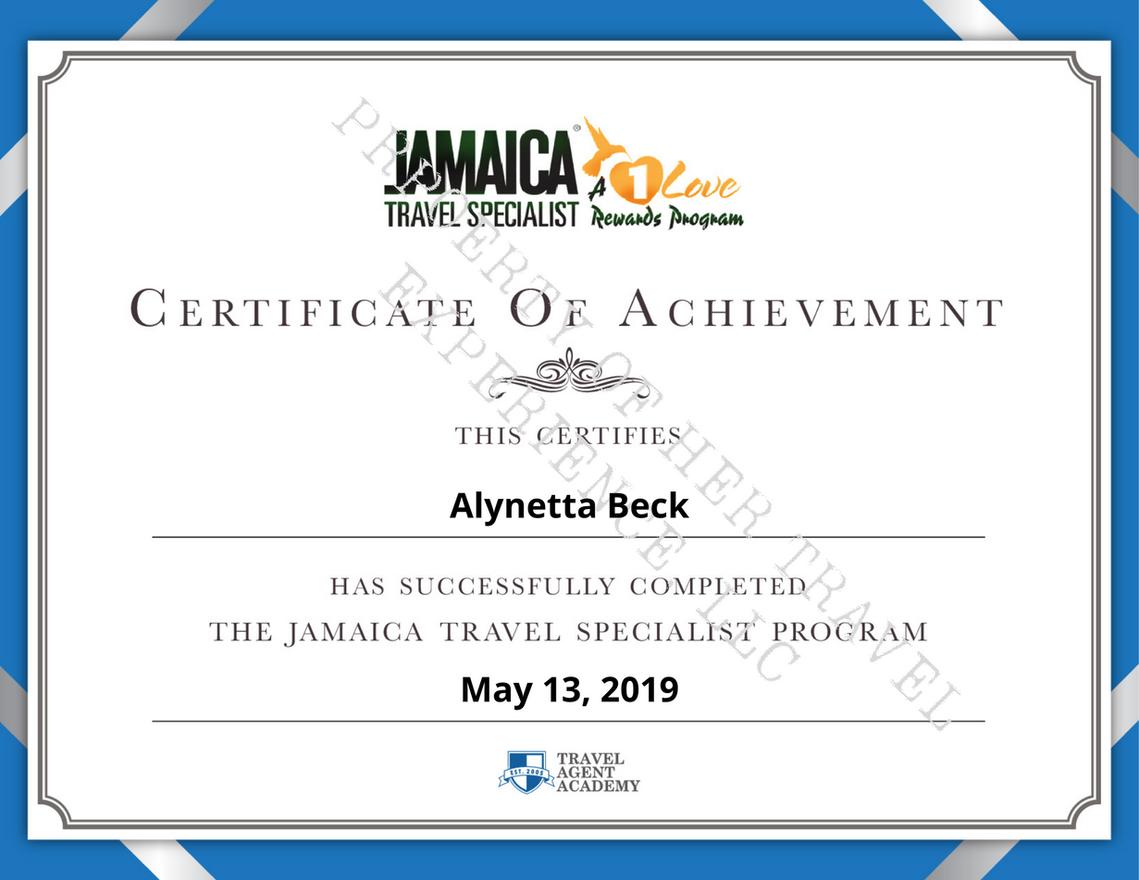 jamaica Travel specialist certificate.pn
