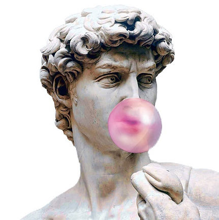 Aesthetic statue blowing a bubble