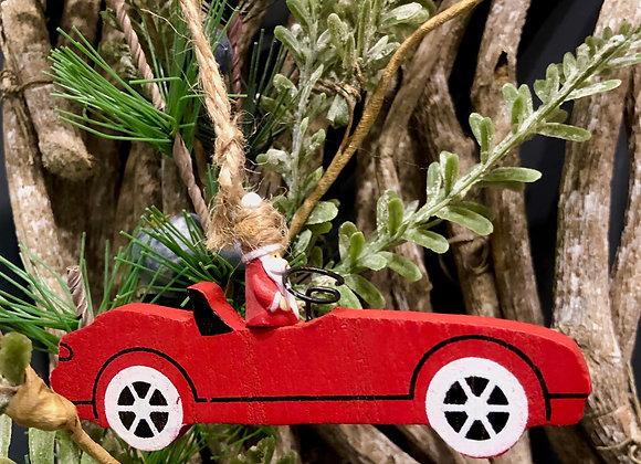 Santa in a racing car