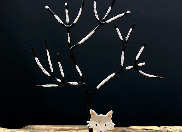 Painted metal Tree with a fox