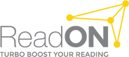 Logo of ReadON - with tag line turbo boost your reading