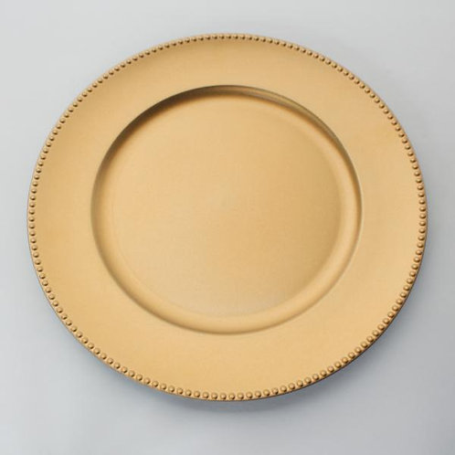 """DECOSTAR™ PLASTIC CHARGER PLATE 13"""" - MATTE SPRAY FINISH - GOLD - 24 PIECES"""