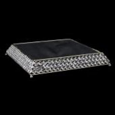 SILVER CRYSTAL SQUARE CAKE STAND