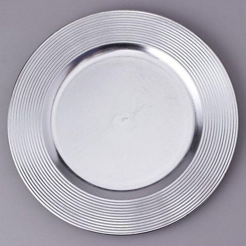 """DECOSTAR™ PLASTIC CHARGER PLATE 13"""" - SILVER - 24 PIECES"""