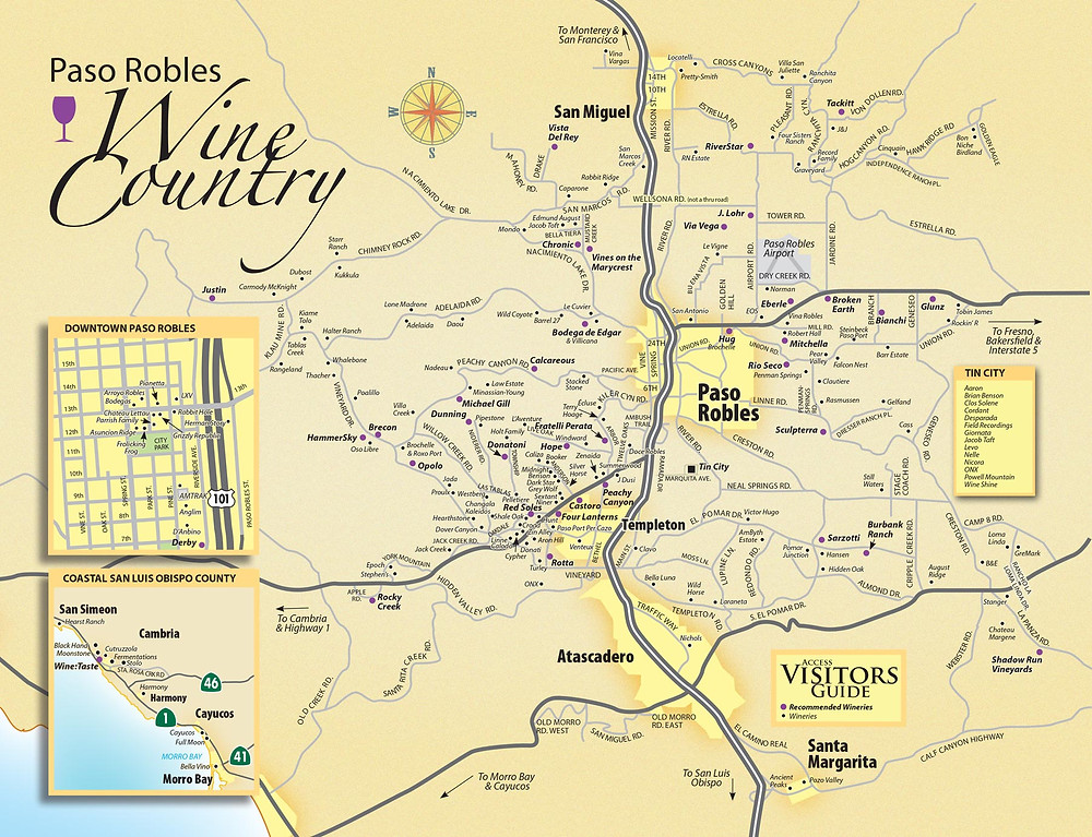 Paso Robles Wine Country Map