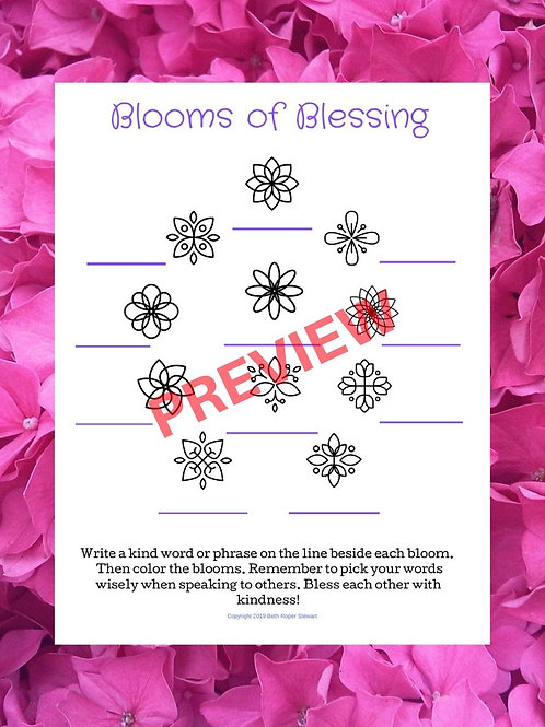 Blooms of Blessing Worksheet