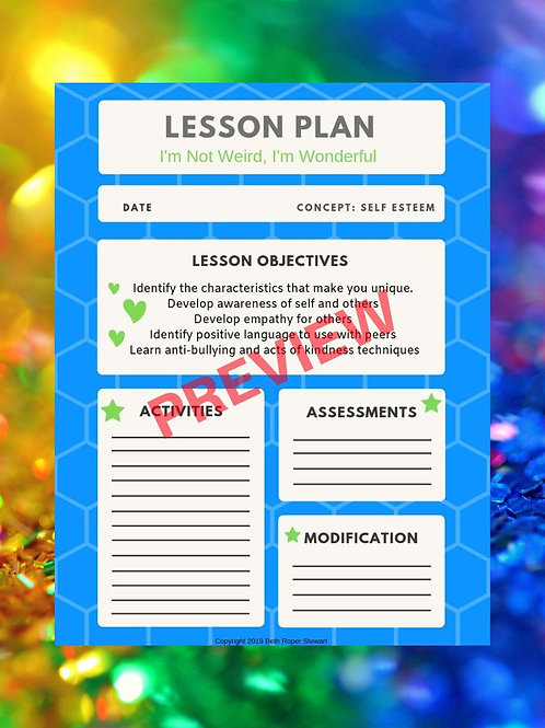 INWIW Self Esteem Lesson Plan template