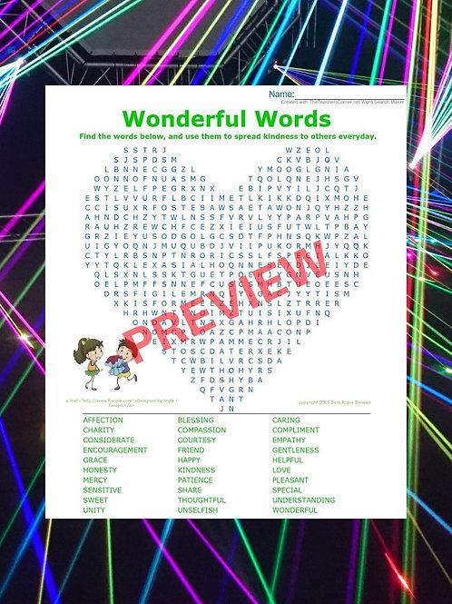 Wonderful Words Word Search