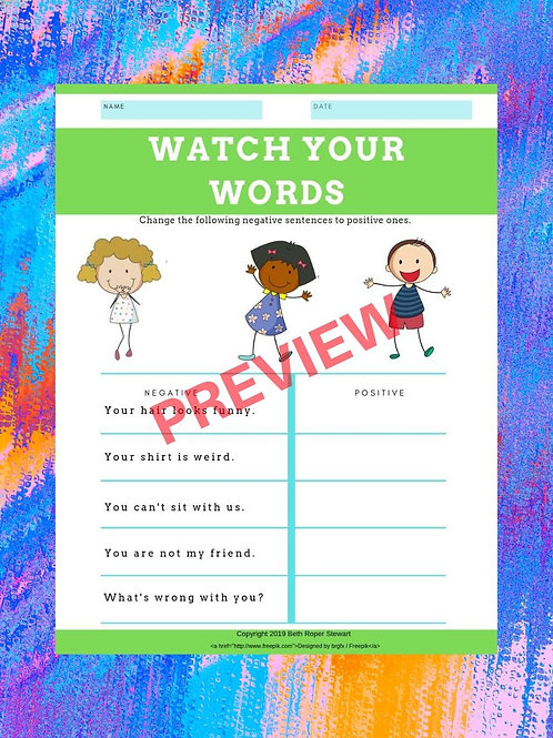 Watch Your Words Worksheet