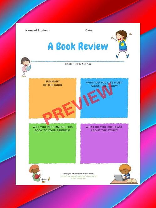 INWIW K-2 Book Report Template