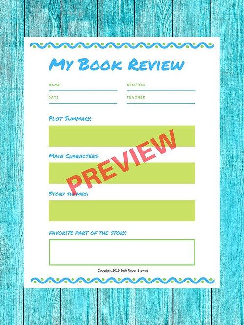 INWIW Grades 2-5 Book Report Template