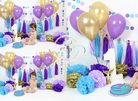 Ember's Milestone Session - Mermaid First Birthday