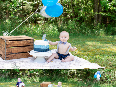 Simple Blue First Birthday Session | Casey Family | Hayley Gibbs Photography in Snead Alabama
