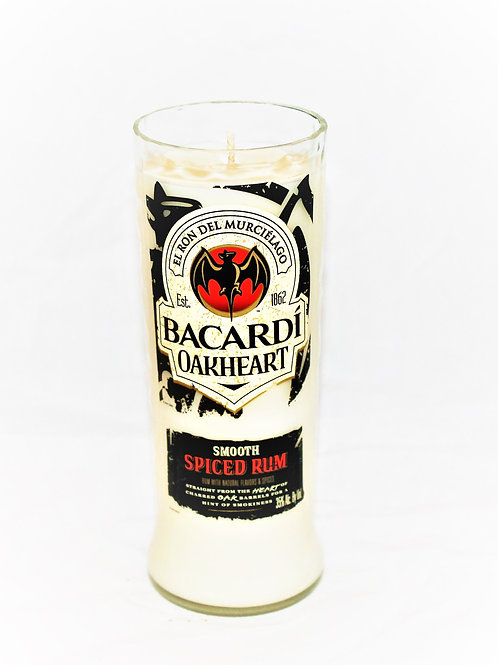 Bacardi Oakheart Rum Liquor Bottle Candle