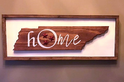 Framed Tennesee Home Sign with Cast Iron Starts