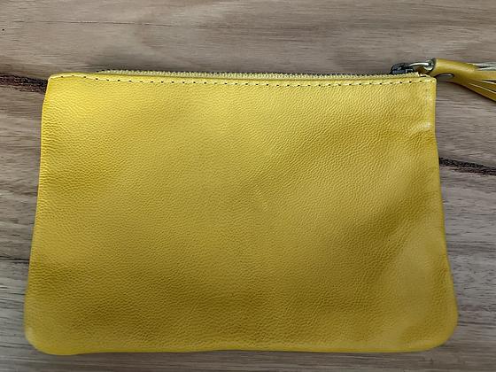 Yellow mini leather clutch