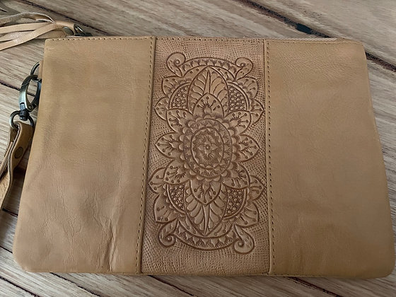 Etched middle leather clutch