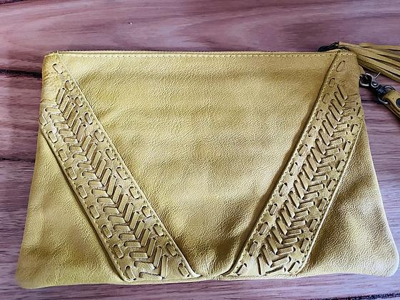 Yellow arrow leather clutch