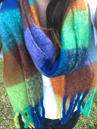 Thick winter rainbow scarf