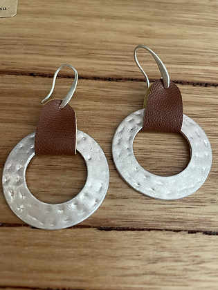 Silver leather earring