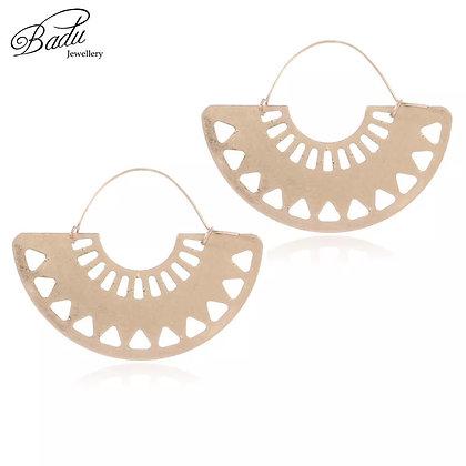 Aztec gold fan earrings