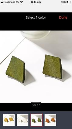 Green wood earring