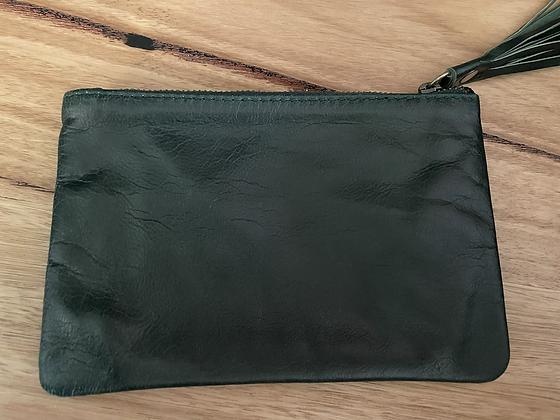 Green mini leather clutch