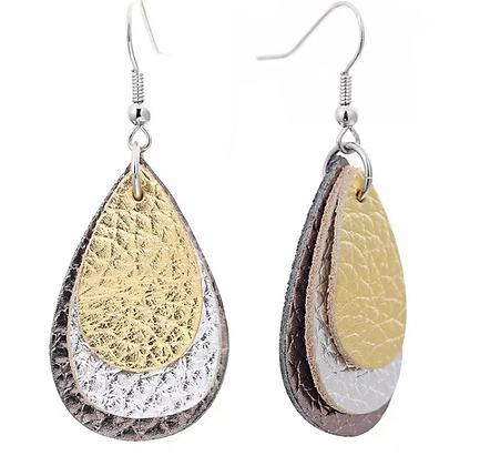 Gold metellic leather earring
