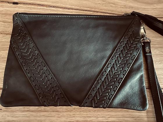 Black arrow leather clutch