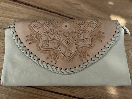 Detailed cream leather purse