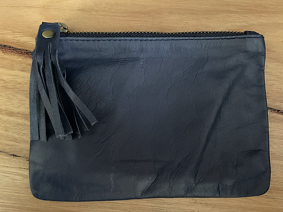 Navy mini leather clutch
