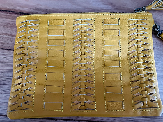Yellow detailed leather clutch